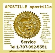 Apostille service, apostilla en California, traduccion, spanish english translation, apostillado de documentos. Tel 1-707-992-5551 http://www.CaliforniaApostille.us